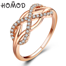 HOMOD Rose Gold Color High Quality Fashion Micro Inlayed Cross Rings For Women Wedding Cubic Zircon CZ Crystal Ring