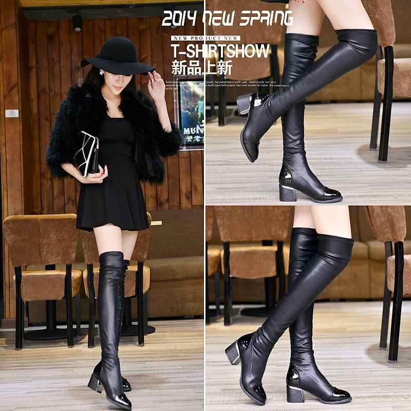 Kadınlar marka tasarımcısı şövalye çizmeler kare topuk platformu diz ayakkabı kız moda kış yuvarlak ayak streç çizmeler