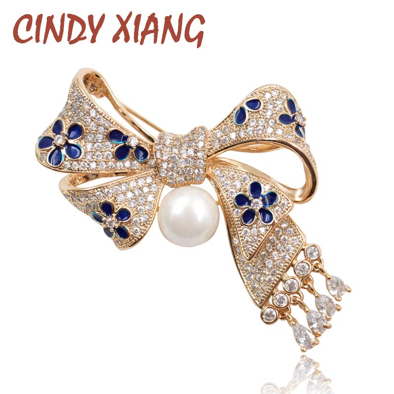 CINDY XIANG AAA Zircon Micro-pave Bow Brooches for Women Exquisite Bowknot With Pendant Brooch Pin Wedding Jewelry Bijouterie