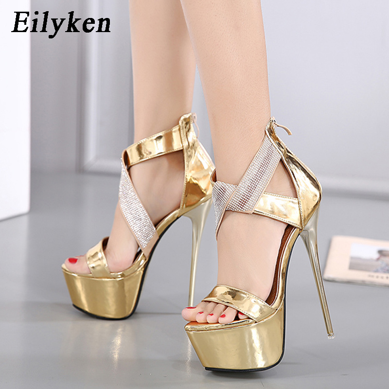 51cf8b5a1225 Eilyken Women Sandals Platform Pumps 16CM Ladies Dress shoes Sexy Heels  Ankle Wrap Heels shoes Crystal Glitter Women Sandals -in Women s Sandals  from Shoes ...
