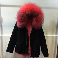 NEW Style Mrs Italy Design Beautiful Coral Red Raccoon Fur Collar Coat Women Winter Real Inside