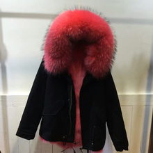 NEW Style Mrs Italy design beautiful coral red raccoon fur collar coat women winter real inside fox fur jacket