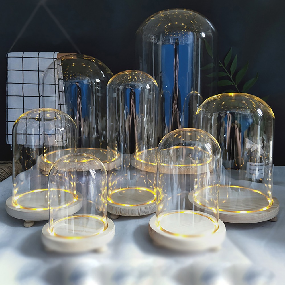 Tabletop Display Glass Dome Cloche Cover Decor Dry Flower Ornaments Handmade Craft Bell Jar Wood Color Base With Feet LED Light