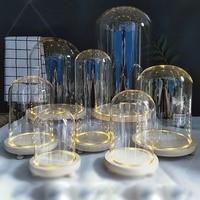 Tafelblad Display Glass Dome Cloche Cover Decor Droge Bloem Ornamenten Handgemaakte Craft Bell Jar Hout Kleur Base met Voeten LED licht