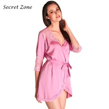 Secret Zone Sexy Lace Half Sleeve 1 Pcs Women Robe With Belt Cardigan Female Soft Bathrobe Brand Elegant Sleepwear
