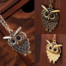 2016 New Hot Vintage Women Owl Pendant Long Sweater Chain Jewelry Golden Antique Silver Bronze Charm fashion free shipping