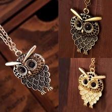 2016 New Hot Vintage Women Owl Pendant Long Sweater Chain Jewelry Golden Antique Silver Bronze Charm