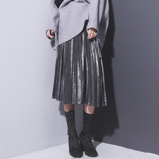 2017 Women Silver Metallic Skirt Women Skirt A Life High Metallic Pleated Skirt Party Club Skirt P2