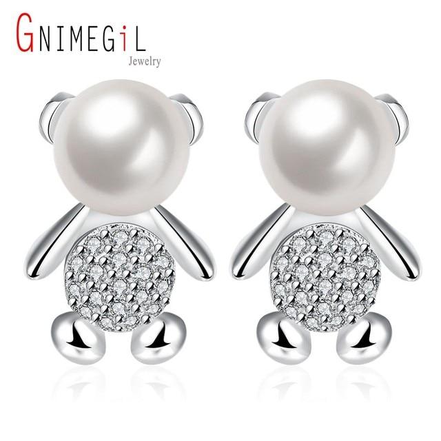 Gnimegil Brand Jewelry S Earring Cute Bear Silver Simulated Pearl Clear Crystal Women Stud Earrings