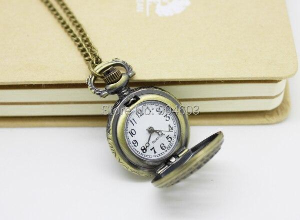 3002) 12 шт/лот стимпанк винтажные резные карманные часы с совой цепочкой ожерелье Кулон диаметр 2,7 см Хэллоуин Рождественские вечерние подарки