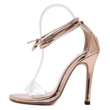 LALA IKAI Summer Open Toe Pumps Cross-tie Women Sandals Fashion Lace Up Plast Ladies High Heels Sandalias Mujer XWF1320-5