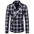 M-6XL Outono Homens Blazers Xadrez Lenço do Inverno Gola Outerwear Inteligente Casuais Jaquetas Finas Para O Sexo Masculino Plus Size Coats Ternos Agradável nova