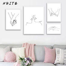 Line Drawing Kiss Handholding Canvas Poster Abstract Wall Art Painting Print Minimalist Nordic Decoration Picture Home Decor(China)