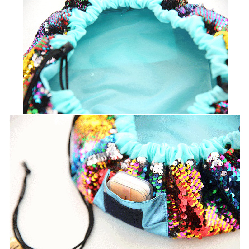 2018 Magic Mermaid Sequins Travel Pouch Lazy Drawstring MakeUp Bag Women Organizer Storage Artist Ladys for Cosmetic/Toiletries