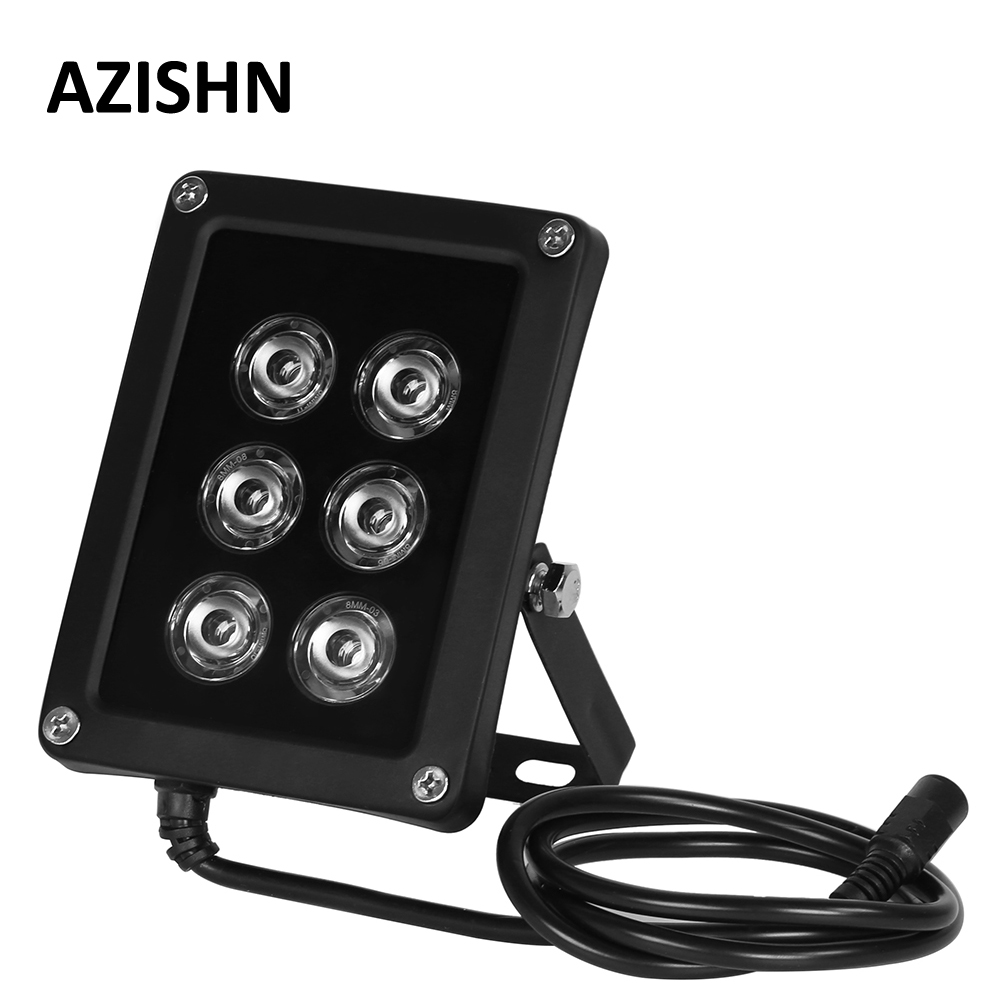 AZISHN NEW CCTV 6pcs Array LEDS IR Illuminator Infrared Light Waterproof Night Vision CCTV Fill Light For Surveillance Camera