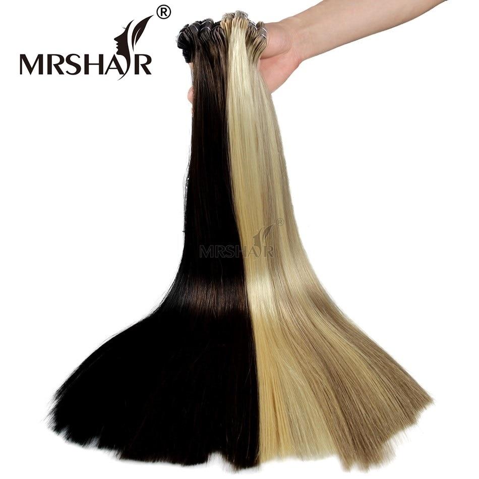 MRSHAIR Double Bande Dessinée Dans Les Extensions De Cheveux Humains - Cheveux humains (blanc) - Photo 6