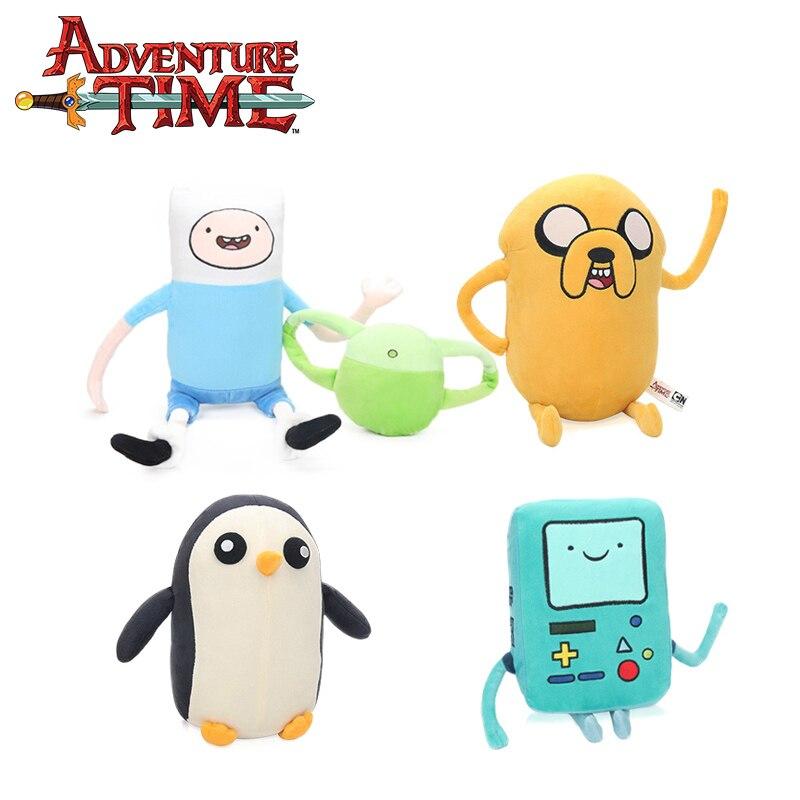 Set of 4pcs Jake Penguin Gunter Finn Beemo BMO Soft Stuffed Animal Dolls Adventure Time Plush