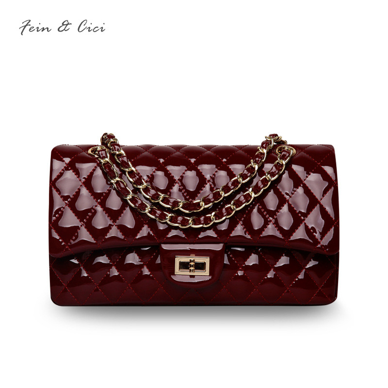 luxury brand chains double flap bag women genuine patent leather classic shoulder bag handbag totes white wine red black pink luxury brand chains double flap bag 100% genuine leather sheepskin women classic shoulder bag handbag totes red black beige pink