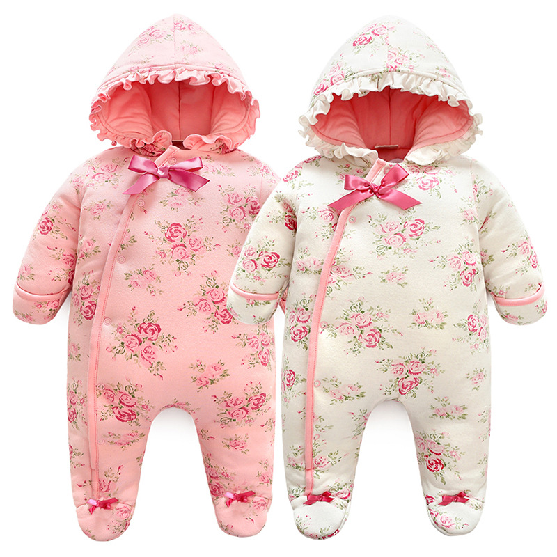 New Born Baby Girl Romper Warm Thicken Floral Jumpsuit Hooded Baby Clothing with Princess Style Newborn Girl Clothes Winter cute newborn baby girl clothes new style girls princess bow flowers romper