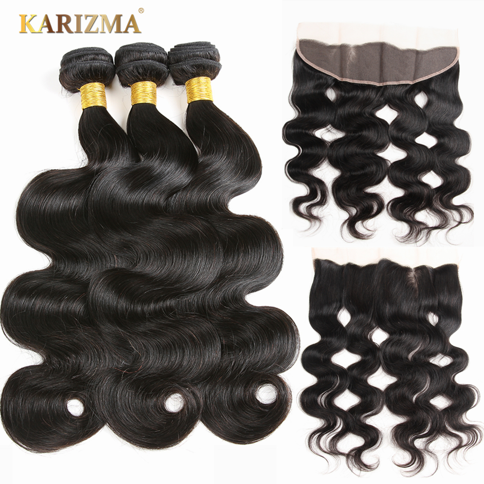 "Karizma Peruvian Body Wave Human Hair Bundles With Closure <font><b>13</b></font>""<font><b>x</b></font> <font><b>4</b></font>"" Frontal Ear To Ear Lace Frontal Closure With Bundles Non Remy"