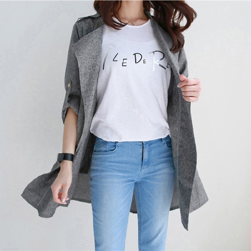 2019 Spring Dark Gray Loose Blazer Female Cotton And Linen Women Blazers And Jackets Casual Coats Women Casacos Femeninos
