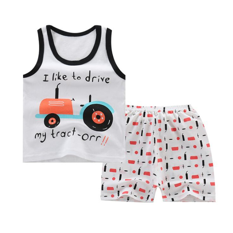 Baby Boy Clothes Toddler Kids Suits Set Boys Girls Cotton Sleeveless Sports T Shirts Shorts Summer Cartoon Vest Clothes