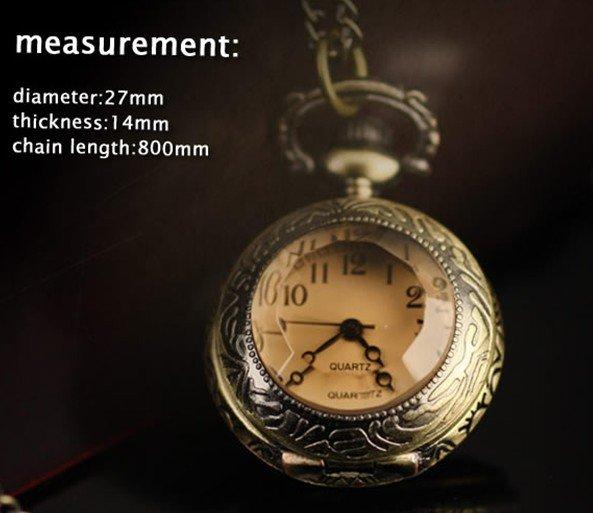3029) 12 шт./лот в викторианском стиле Античная бронза кварцевые карманные часы ожерелье кулон Размер 27 мм