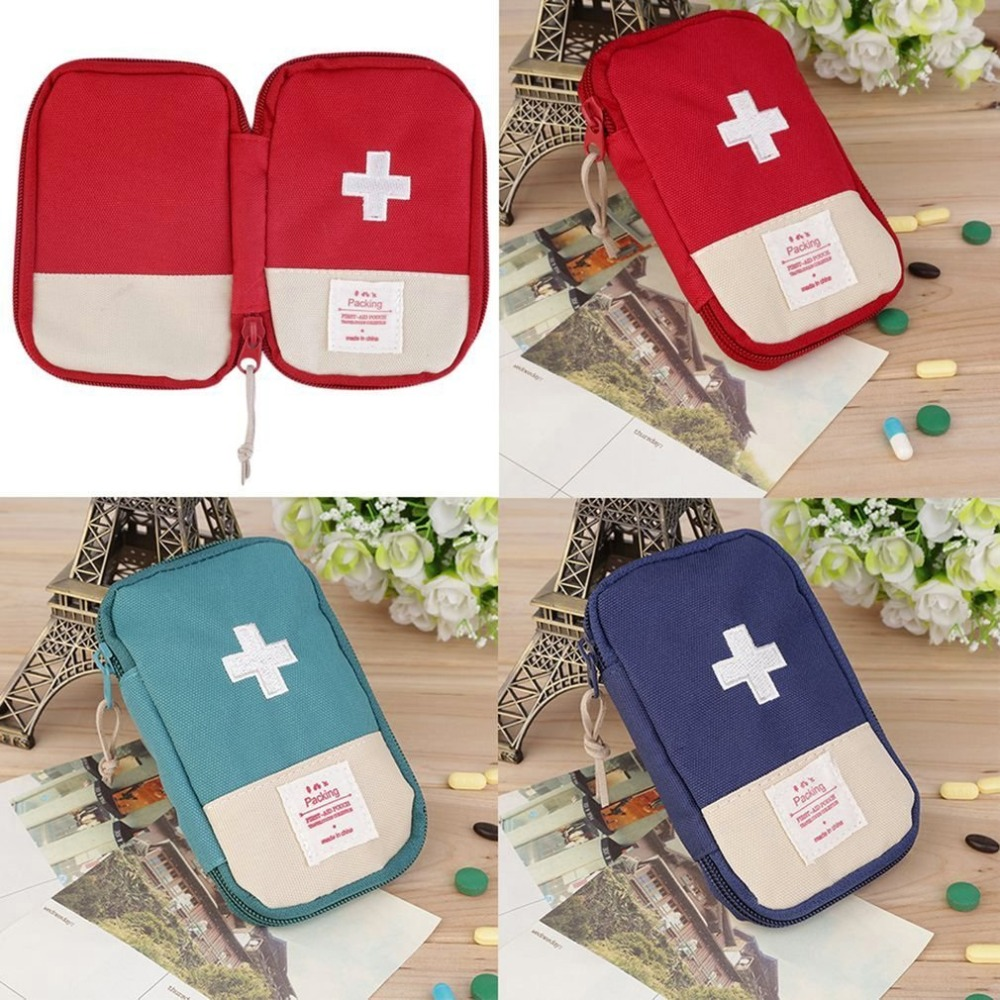 Mini First Aid Kit Bag Durable Outdoor Camping Home Survival Portable Striking Cross Symbol Case Easy-Carrying Convenient Handle