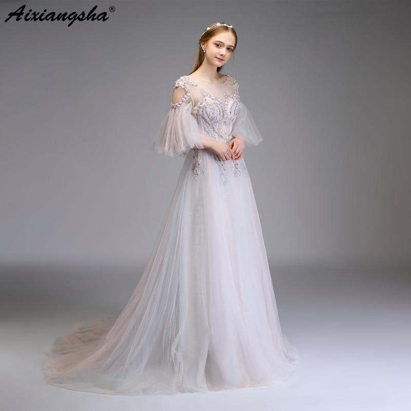 Prom Dresses 2018 Scoop Appliques Lace Long Prom Dress Elegant ...