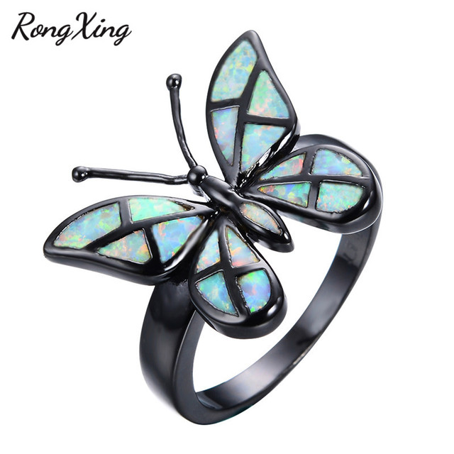 RongXing Stylish Rainbow Fire Opal Butterfly Ring Fashion