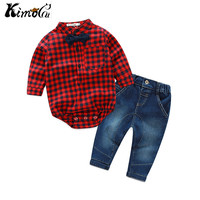 Kimocat The Gentleman Grid Cowboy Outfit The Baby Boy In The Spring And Autumn Outfit Virgin