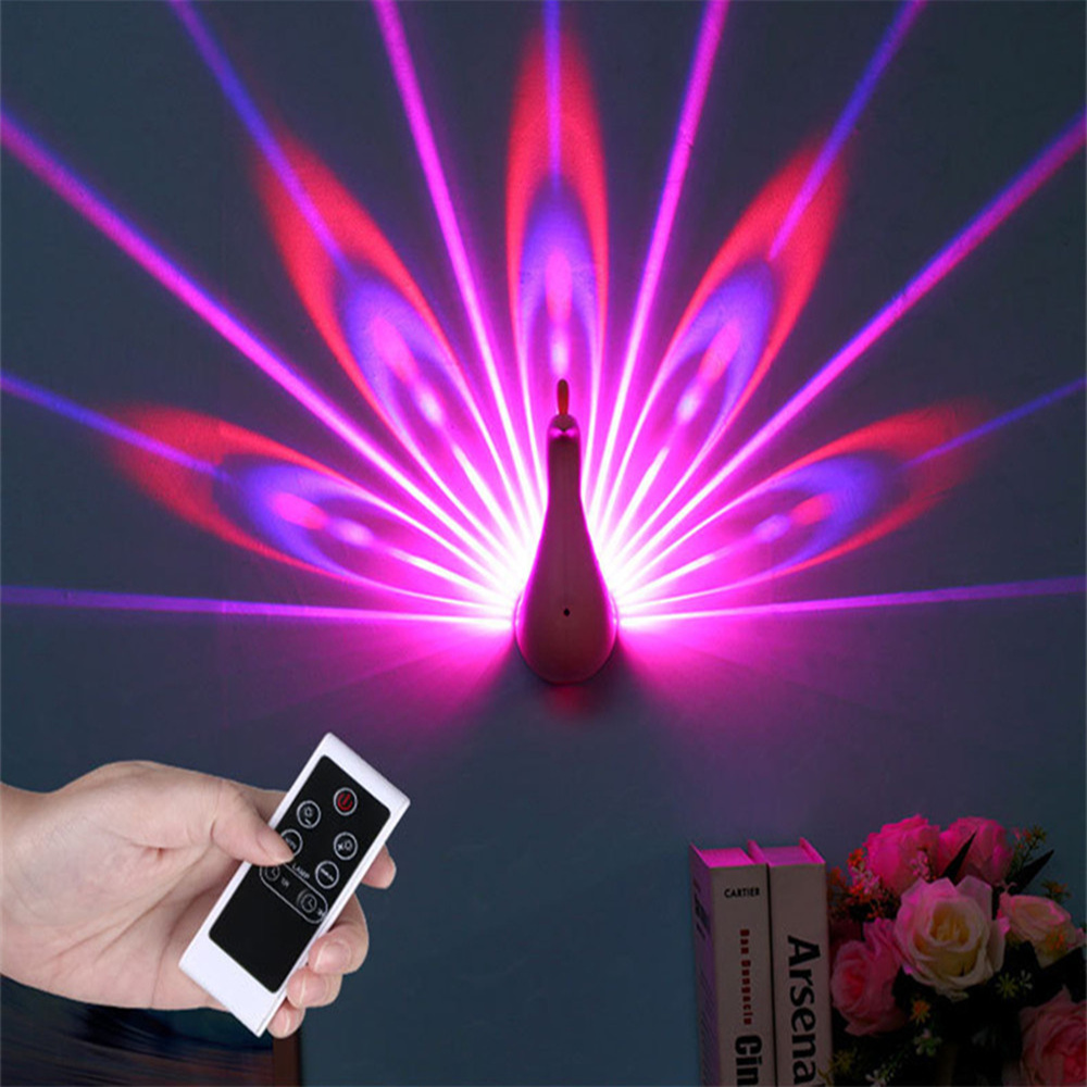 Night Light Projector, 7 Color Changing LED Peacock Wall Lamp with Smart Touch&Remote Control Home Decorative 3D Wall Lamp цена