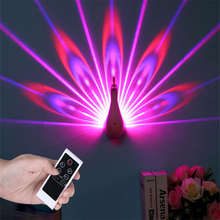Night Light Projector, 7 Color Changing LED Peacock Wall Lamp with Smart Touch&Remote Control Home Decorative 3D Wall Lamp