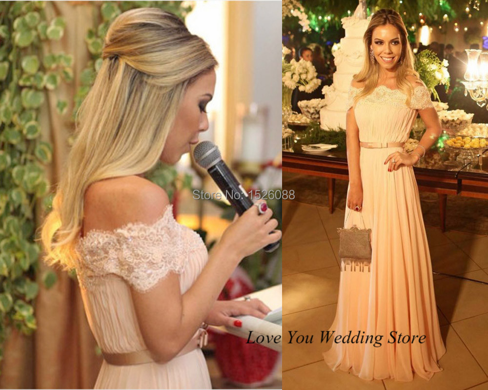 2015 Elegant Coral Prom Dress Peach Off the Shoulder Pageant Gowns ...