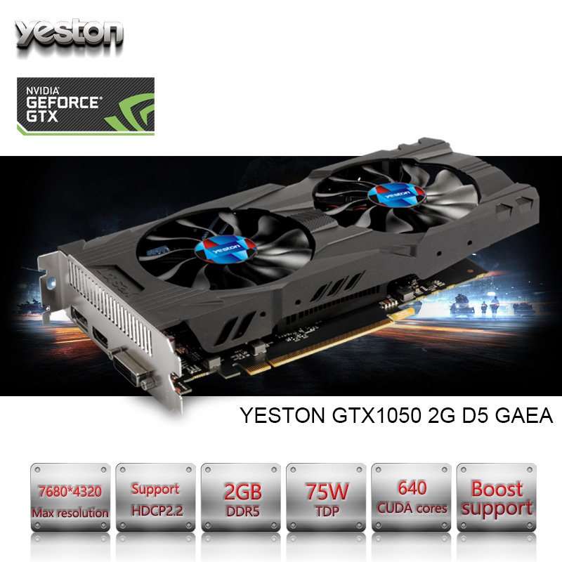 Yeston NVIDIA GeForce GTX 1050 GPU 2GB GDDR5 128 Bit Gaming Desktop Computer PC Support Video