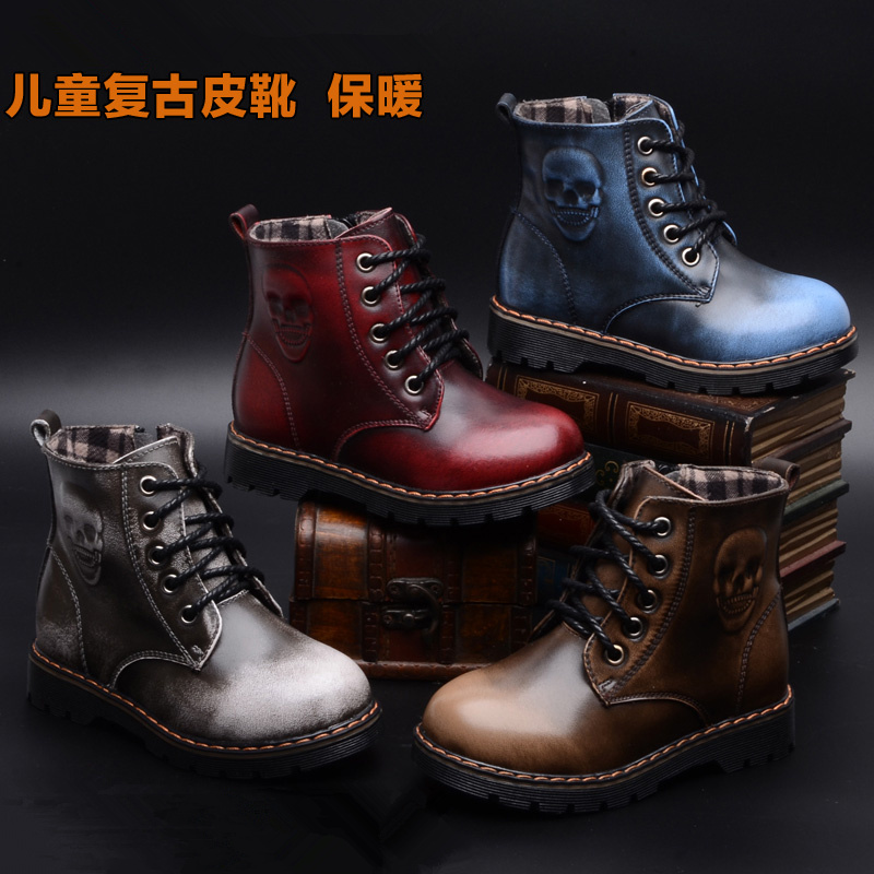 New 2016 Children Snow Boots With Plush Fashion Skull Genuine Leather Waterproof Kids Winter Shoes Girls & Boy Martin Boots high quality kids boots girls boots fashion leather snow boots girls warm cotton waterproof girls winter boots kids shoes girls