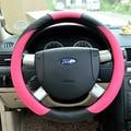 Sport series car steering wheel cover bright color fiber skin stiletto steering wheel cover black matching rose