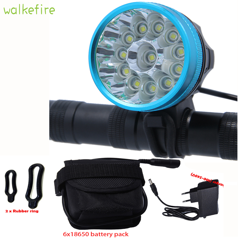 Walkfire Waterproof Bike Light Headlamp 20000 lumens 12 x XML T6 LED Bicycle Cycling Head Light + 18650 Battery Pack +Charger waterproof 5000 lumen 2x xml u2 led cycling bicycle bike light lamp headlight headlamp 6400mah battery pack charger