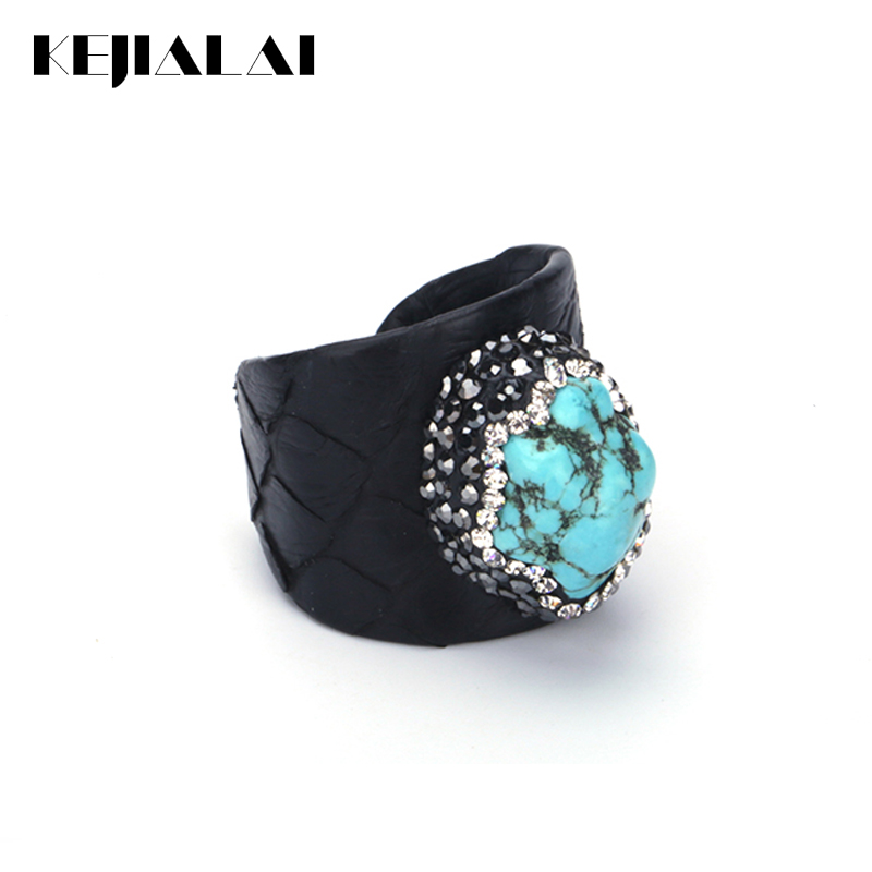 KEJIALAI Luxury Ring Blue Turquoises Bead Rings Men Rhinestone Charms Black Real Snake Leather Adjustable Open Ring Cuff Women