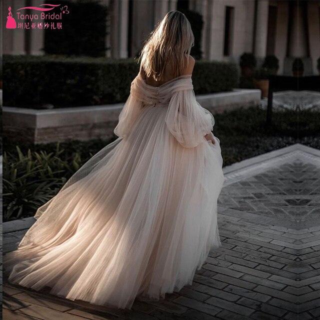 Impressionante Completa Tulle Saia Vestidos De Casamento 2019 Manga Lanterna Campo Francês Vestidos de Noiva de Conto de fadas Romântico ZW137