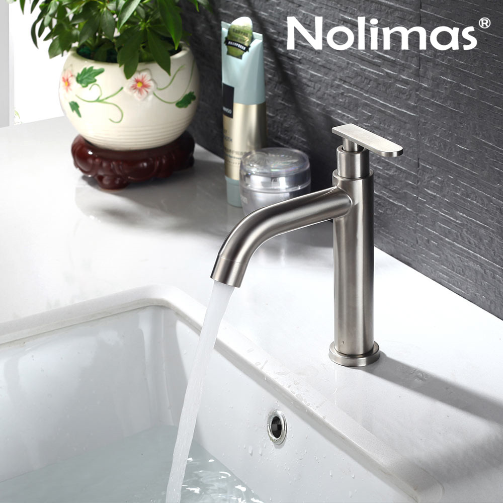 Single Cold Bathroom Baisn Faucet Stainless Steel Brushed Toilet Faucet Ceramic Plate Spool Basin Mixer Tap