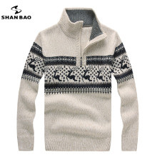 SHAO BAO brand clothing men's casual sweater good quality zipper stand collar Christmas Deer thickening warm men sweater S-XXL