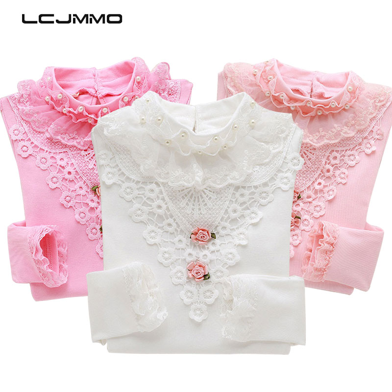 все цены на LCJMMO Fashion Spring Lace Girls Blouse Tops 2017 Cotton Long Sleeve Soild Girl School Blouse Shirts Blusas Children Clothing