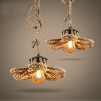 Retro Pendent Lamp Individuality Hemp Rope Pendent Lamp American Country Style Bedroom Loft Hemp Rope Pendent Lamp