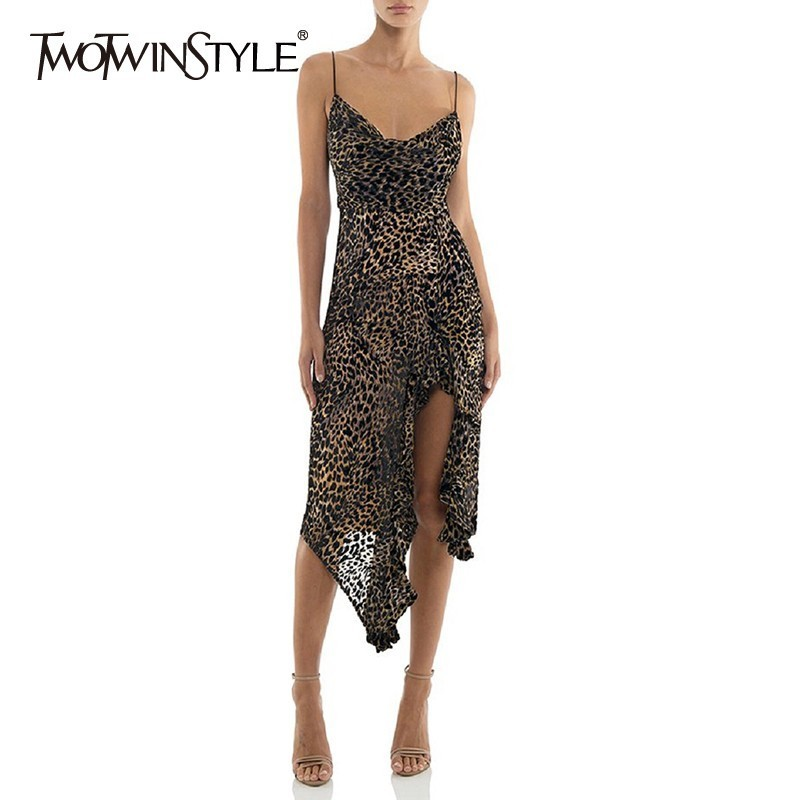 TWOTWINSTYLE Leopard Dress For Women V Neck Sleeveless High Waist Asymmetrical Midi Sexy Dresses Female Fashion Clothing 2020