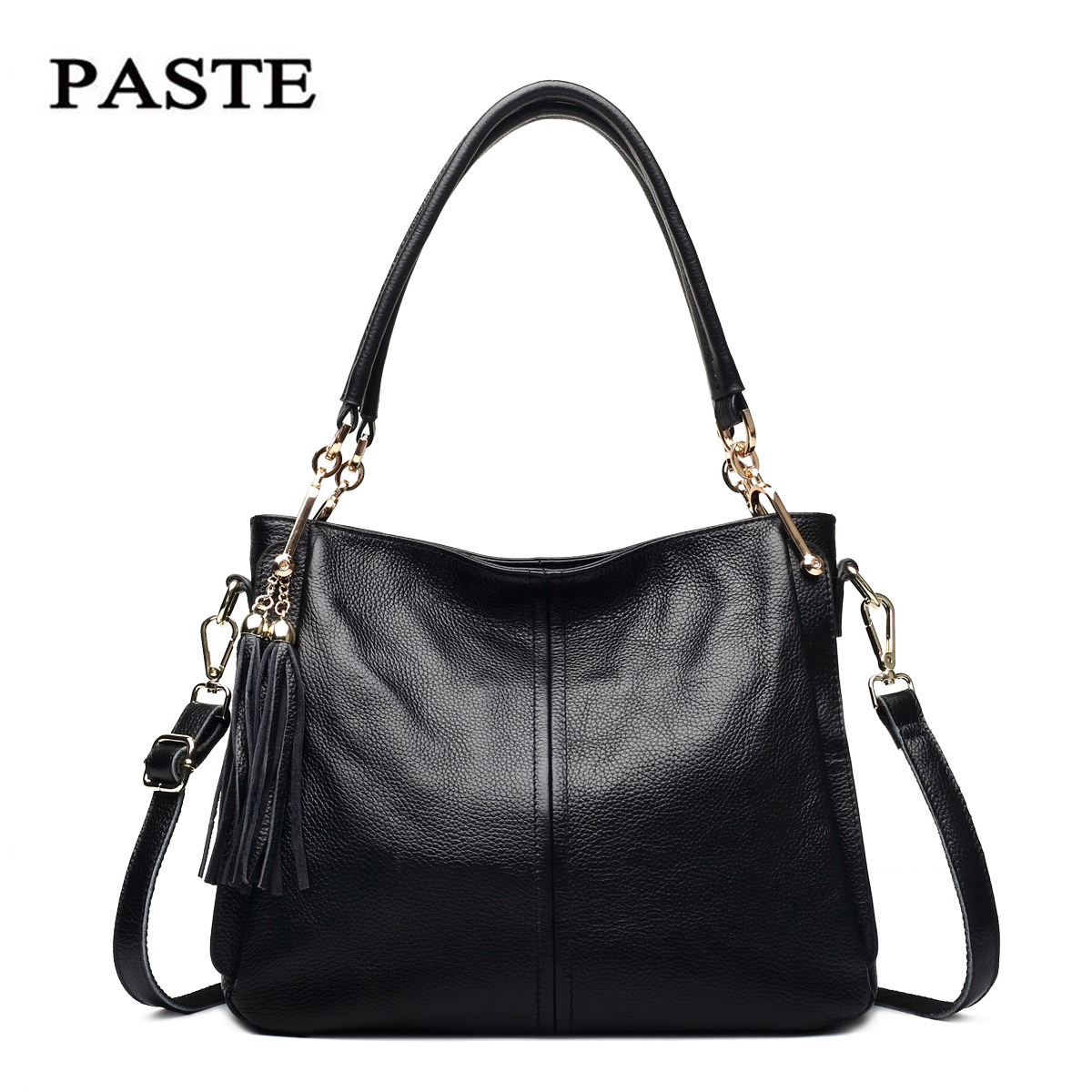 купить PASTE New Genuine Leather Women Bag Famous Brand Handbags For Women 2018 Tote Bags Big Ladies Crossbody Shoulder Bag BolsosMujer