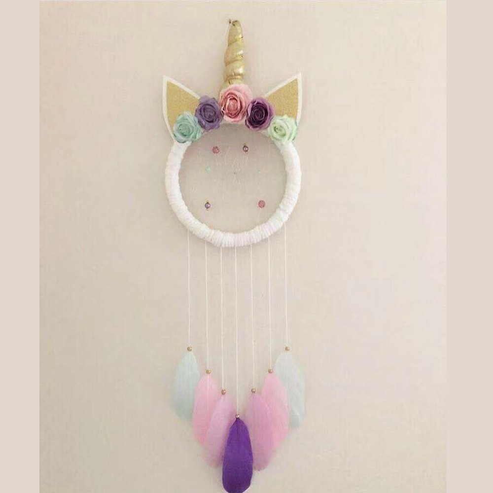 Nordic Style Unicorn Feather Dreamcatcher Handmade Wind Chimes Pendant Wall Hanging Ornaments Kids Room Decorations Photo Props in Wind Chimes Hanging Decorations from Home Garden
