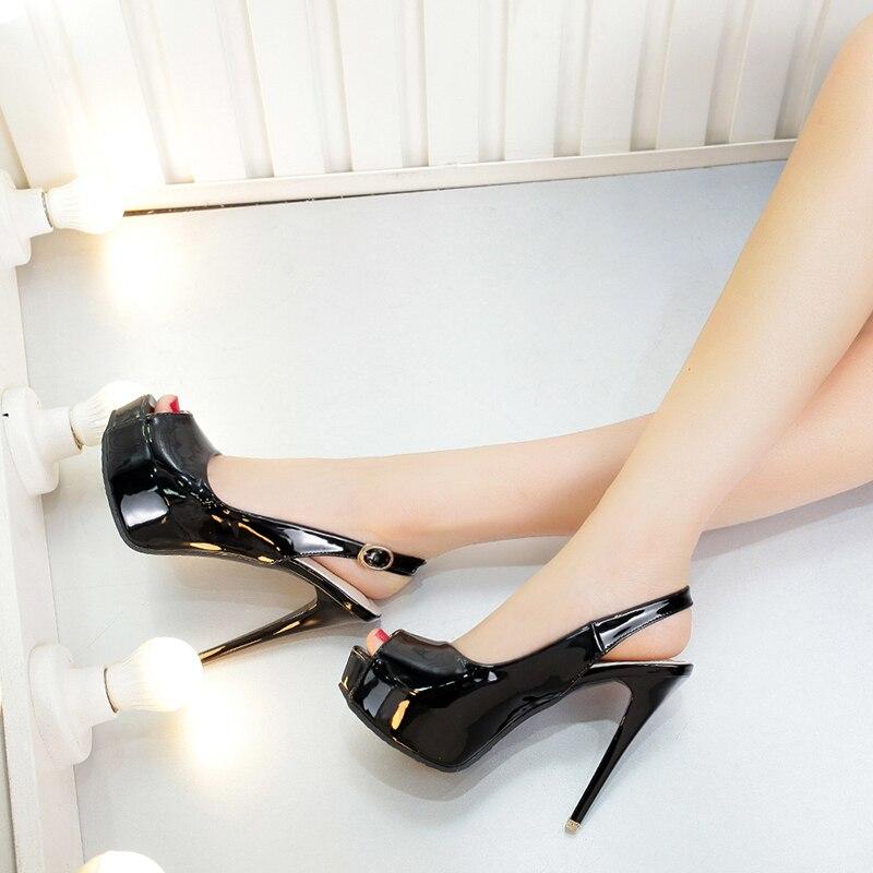 bianco Nero Nuovo Uniti Stati Open 12 Pesci Delle Con Sexy Gli Toe Sandali Europa Brevetto Cm colore E Alti In Pelle Donne Bocca I Alta Di Dei Rosa Il Tacchi IwFqCEA