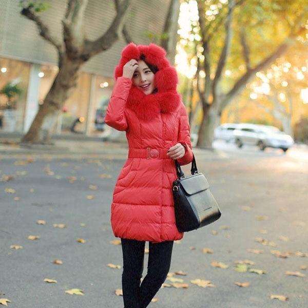 2014 New Winter Ladies Thick Warm Rex Raccoon Fur Collar Down Coat Long Slim Pleated Fur Hooded Down Jacket Plus Size A1501