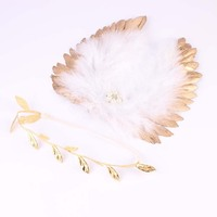 NEWBORN FEATHER WINGS Gold Leaf Headband with Gold Angel Wings newborn photography prop Hair Accessories Gold and Silver